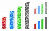 3d Bar Chart Mosaic Of Joggly Parts In Various Sizes And Color Tints, Based On 3d Bar Chart Icon. Ve poster