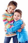 Dos niños felices Unidos