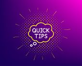 Quick Tips Line Icon. Halftone Pattern. Helpful Tricks Speech Bubble Sign. Gradient Background. Quic poster