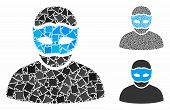 Mask Person Mosaic Of Rugged Elements In Different Sizes And Color Tones, Based On Mask Person Icon. poster