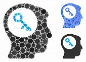 Brain Key Mosaic Of Round Dots In Variable Sizes And Color Tints, Based On Brain Key Icon. Vector Ro poster