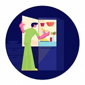 Hungry Man Wearing Pajamas Stand At Open Refrigerator At Night Going To Eat. Male Character Searchin poster