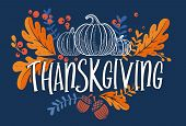 Happy Thanksgiving Day Background With Lettering And Illustrations. poster