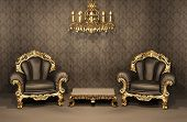 Armchairs With Gold Frame In Old Interior. Luxurious Furniture. Deluxe Apartment