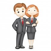 illustration of 3d business man and woman in vector