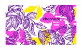 Cacao Paint Template. Tropical Background, Color Jungle. Vector Nature Art Sketch, Organic Design. N poster