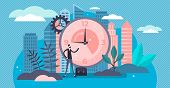 Working Hours Vector Illustration. Flat Tiny Classical Workweek Persons Concept. Popular Office Job  poster