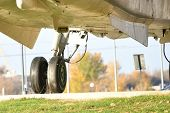 Airplane Wheels Close Up. Airplane Wheels. Close Up Of A Airplane Wheels And Tires poster