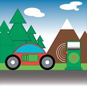 Wireless Charging Of Electric Vehicles In Nature. A Car With An Electric Motor Charges The Battery F poster