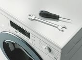 Washing Machine Repair. Assistance Or Maintenance Concept. 3d Rendering poster