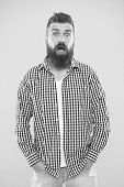 Quite Surprised. Beard Fashion And Barber Concept. Man Bearded Hipster Stylish Beard Yellow Backgrou poster