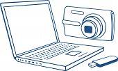Ordenador portátil, cámara fotográfica, unidad flash usb