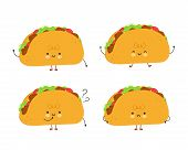 Cute Happy Taco Set. Isolated On White Background. Vector Cartoon Character Illustration Design,simp poster
