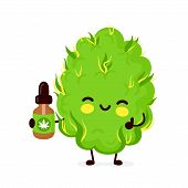Cute Funny Smiling Happy Marijuana Weed Bud With Cannabis Oil.vector Flat Cartoon Character Illustra poster