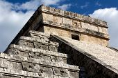 Detail Of Top Of Kukulkan Pyramid At Chichen Itza