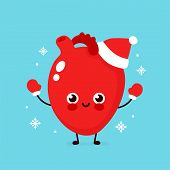 Cute Smiling Happy Heart Organ In Christmas Hat And Gloves. Vector Flat Cartoon Character Illustrati poster
