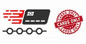 Vector Rush Grace Credit Periods Icon And Rubber Round Stamp Seal With Cards Only Text. Flat Rush Gr poster