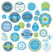 Set of water badges and stickers