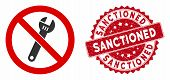 Vector No Spanner Icon And Rubber Round Stamp Watermark With Sanctioned Text. Flat No Spanner Icon I poster