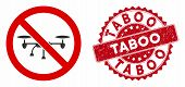Vector No Airdrone Icon And Rubber Round Stamp Seal With Taboo Caption. Flat No Airdrone Icon Is Iso poster