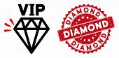 Vector Vip Brand Icon And Grunge Round Stamp Seal With Diamond Phrase. Flat Vip Brand Icon Is Isolat poster