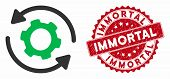 Vector Infinite Rotation Icon And Rubber Round Stamp Watermark With Immortal Caption. Flat Infinite  poster