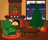 Christmas Cozy Room With Xmas Tree, Fireplace, Armchair, Gift Icon Concept. Apartment Symbol, Logo A poster