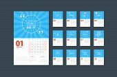 Wall Calendar Planner Template For 2020. Vector Design Print Template With Typographic Motivational poster