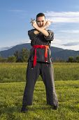 Woman ninja with shuriken