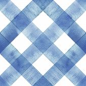 Watercolor Diagonal Stripe Plaid Seamless Texture. Indigo Blue Stripes On White Background. Watercol poster