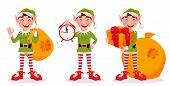 Merry Christmas. Funny Elf, Set Of Three Poses. Santa Claus Helper Elf. Cartoon Character. Vector Il poster