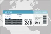Plane Travel Ticket Illustration. Airplane Boarding Pass Design. Airplane Boarding Pass Design. poster