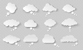 Thought Bubble. Think Cloud With Shadow. White Vector Speech Bubbles. poster