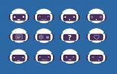 Robot Avatar. Chatbot Emotions Online Symbols On Robot Screen Face Vector Character. Robot Face, Com poster