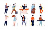 Musicians Characters. Creative Performing Peoples In Different Poses Playing At Musical Instruments  poster