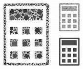 Calculator Mosaic Of Bumpy Parts In Various Sizes And Color Hues, Based On Calculator Icon. Vector R poster