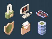 Cyber Security. Online Ddos Hacker Attack Spam Bot Viruses Phishing Network Digital Data Protection  poster