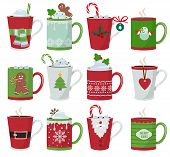 Christmas Mug. Holiday Decoration At Vessel For Hot Drinks Coffee Latte Or Tea Cup Vector Cartoon Il poster
