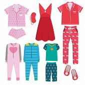 Pajamas. Textile Night Clothes For Kids And Parents Sleepwear Bedtime Pajamas Vector Colored Picture poster