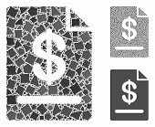 Invoice Mosaic Of Rugged Items In Various Sizes And Color Hues, Based On Invoice Icon. Vector Raggy  poster
