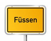 City limit sign FÃ??Ã??SSEN against white background - Bavaria, Bayern, Germany