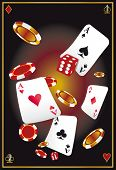 Vegas. A poster with flying cards, chips and dice for your advertising