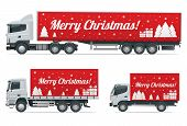 Christmas And New Year Delivery Truck. Christmas Shopping And Winter Holiday. Logistics And Delivery poster