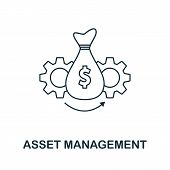 Asset Management Icon Outline Style. Thin Line Creative Asset Management Icon For Logo, Graphic Desi poster
