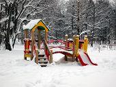 Children's Playground In Winter