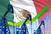 Mexico Oil Industry Concept, Industrial Illustration - Growing Graph On Mexico Flag Background. 3d I poster