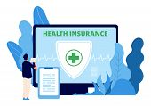 Health Insurance. Healthcare Business Vector Concept. Man Takes Out Health Insurance Online. Illustr poster