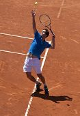 BARCELONA - APRIL, 26: Spanish tennis player Albert Ramos in action during his match against Kei Nis