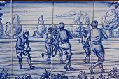 Tile, Talavera ceramics, playing football,