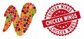 Mosaic Chicken Wing And Rubber Stamp Watermark With Chicken Wings Phrase. Mosaic Vector Is Designed  poster